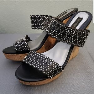 White House Black Market Black Wedges Sz 8